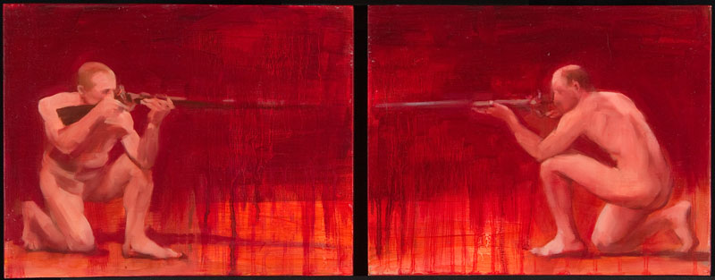 "An Eye For An Eye<br>2 panels, oil, 8-1/2"" x 11"" each"
