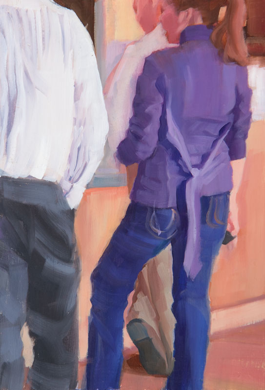 "Between the Shirts<br>Oil on panel, 4"" x 8"""