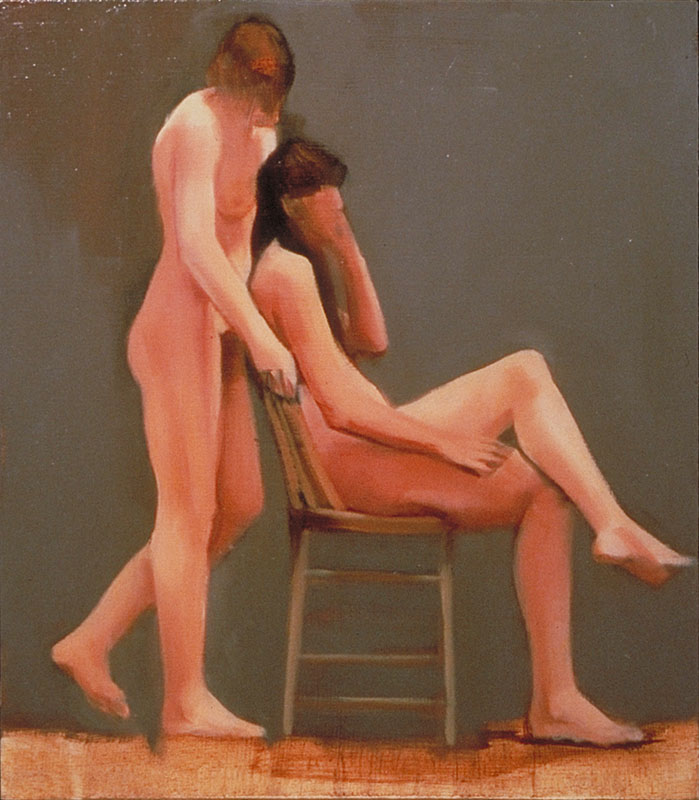 "Caring<br>Oil on panel, 8-1/2"" x 11"""