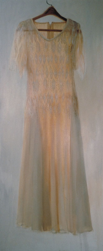 "Celebration Dress 1995<br>Oil on canvas, 30"" x 72"""