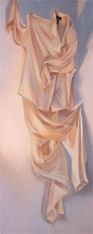 "Dee Dee's Silk Pajamas<br>Oil on panel, 30"" x 72"""
