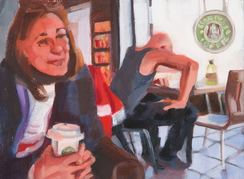 "Elbow Room<br>Oil on panel, 4"" x 8"""
