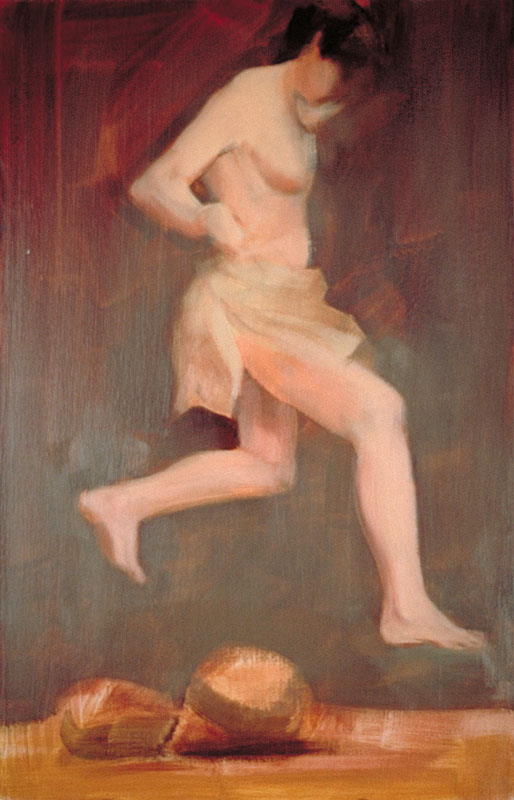 "Leaping the Obstacles<br>Oil on panel, 8-1/2"" x 11"""