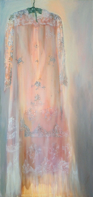"Maria's Wedding Dress<br>Oil on canvas, 30"" x 72"""