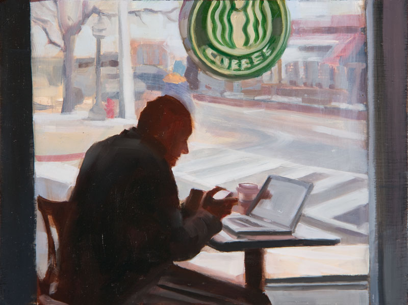 "Media Morning<br>Oil on panel, 4"" x 8"""