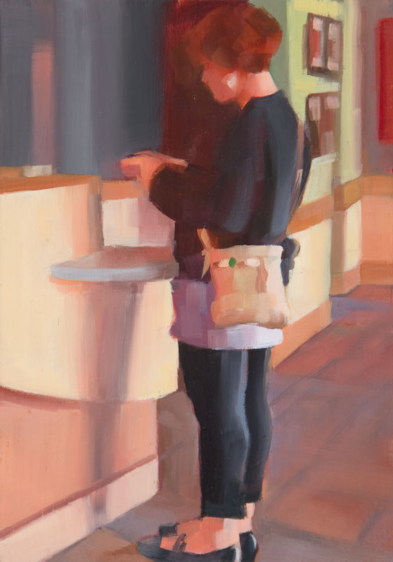 "Meet Me at Starbucks<br>Oil on panel, 4"" x 8"""