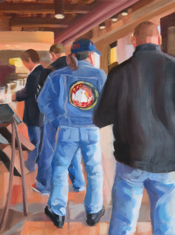 "Men in Levis<br>Oil on panel, 4"" x 8"""