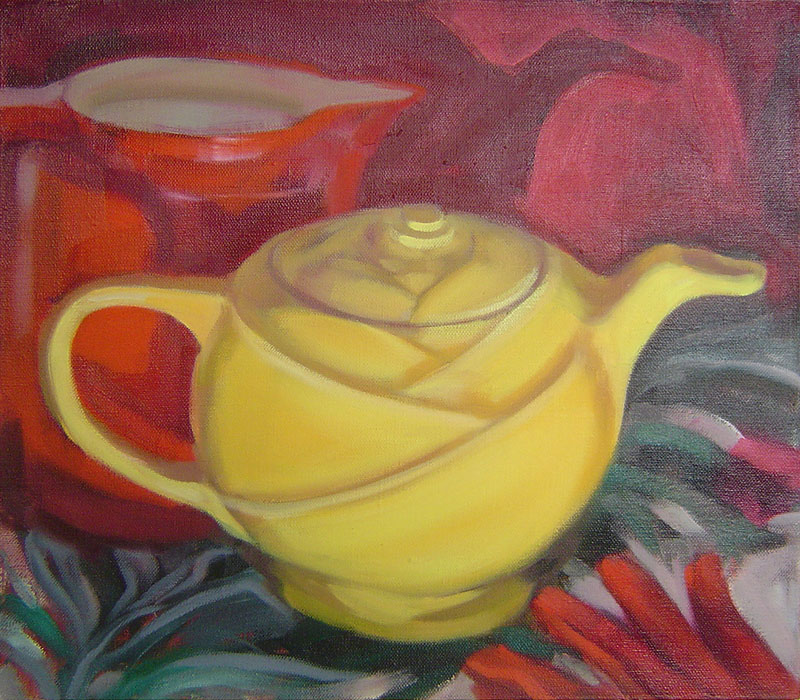 "Mother's Teapot<br>Oil on canvas, 16"" x 16"""