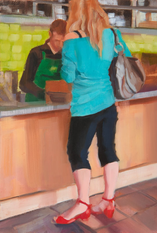 """Red Shoes<br>Oil on panel, 4"""" x 8"""""""