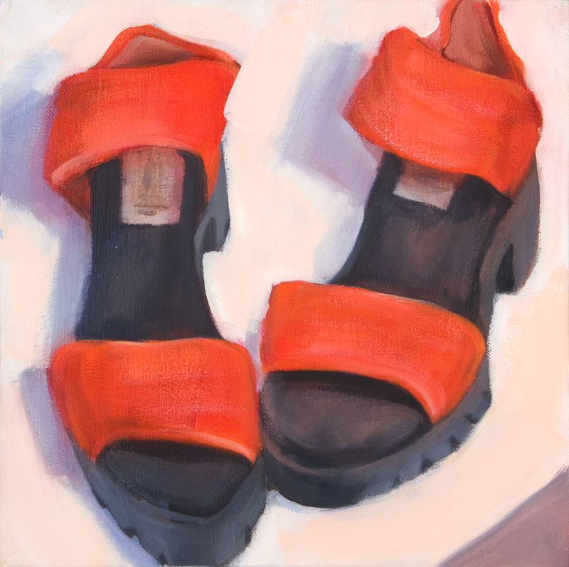 "San Miguel Sandals<br>Oil on canvas, 12"" x 12"""