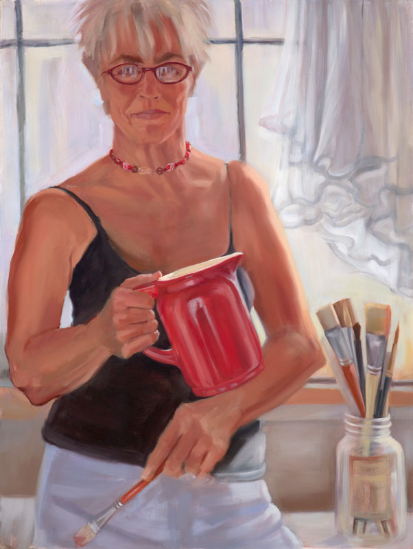 "Self Portrait Times Four<br>Oil on canvas, 30"" x 40"""