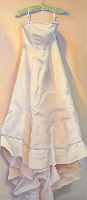 "Susan's Wedding Dress<br>Oil on canvas, 30"" x 72"""