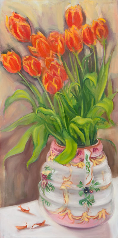 "Tulips for Austin<br>Oil on canvas, 18"" x 36"""