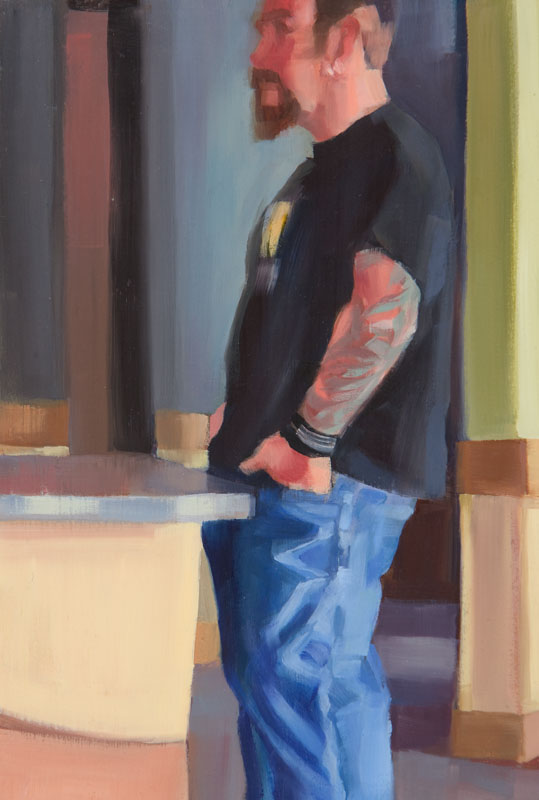 "Waiting<br>Oil on panel, 4"" x 8"""