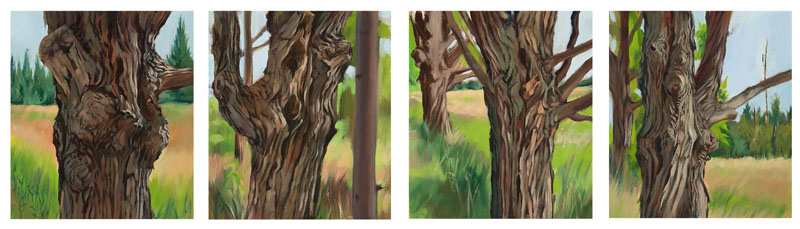 "Written on the Body<br>Oil on 4 panels, 8-1/2"" x 11"" each"