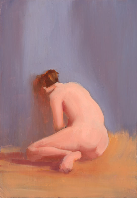 "Reverie<br>Oil on panel, 11"" x 7.5"""