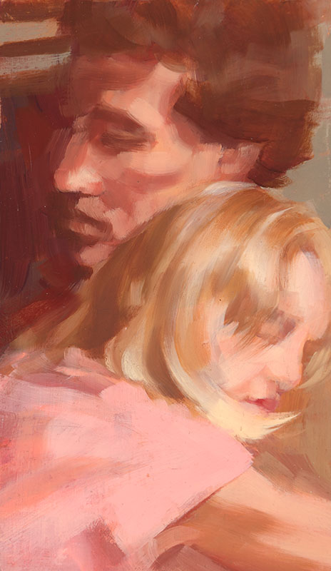 "Tim and Lexi<br>Oil on panel, 6"" x 3.5"""